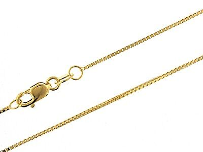 14k gold over 925 Sterling Silver Box Chain 0.9mm Available in Different Lengths
