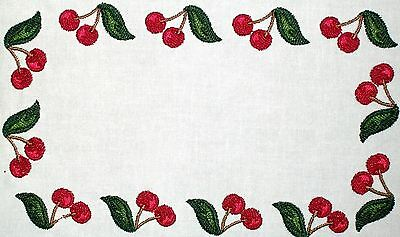 Cherries Embroidered Quilt Label Customize for quilt tops or blocks