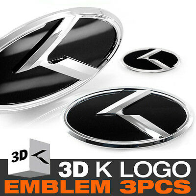 3D K Logo Front Grill + Trunk + Steering Wheel Emblem For KIA 2012-17 Rio Pride