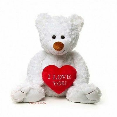 White Teddy Bear With I Love You Heart Valentines Gift Called Joe Talking Large