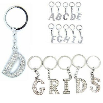 Alphabet Keyring A-Z Initial Letter Crystal KeyChain Fob Silver Stud Name Ring