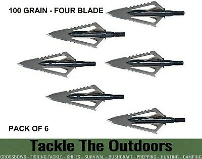 6 X Broadheads NAP Bloodrunner 2 Blade 100 Grain Broad Head For Archery Bows NEW