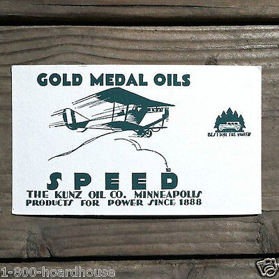 Vintage Original GOLD MEDAL OILS Advertising Blotter SPEED Airplane 1910s NOS