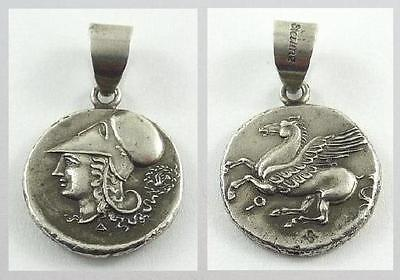 Silver Ancient Greek or Roman Replica Coin Pendant with Sterling Silver Bale