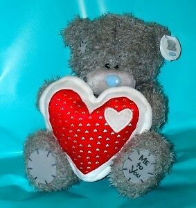 """Me To You Tatty Teddy 9"""" Bear Holding Red & White Heart Valentines Gift"""