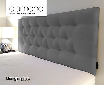 DIAMOND LOW RISE Upholstered Bedhead Headboard for Queen Size Ensemble -GRAPHITE