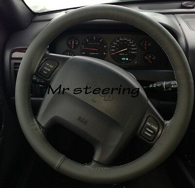 For Jeep Cherokee Kj 2001-2007 100%real Dark Grey Leather Steering Wheel Cover