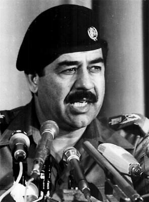 VINTAGE SADDAM HUSSEIN GLOSSY POSTER PICTURE PHOTO old historical iraq gray 1700