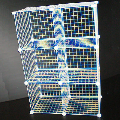 White Wire Cube Storage Unit Shoe Clothes Store Rack New Uk