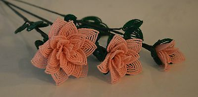 3 handmade French beaded Flowers peach rose roses