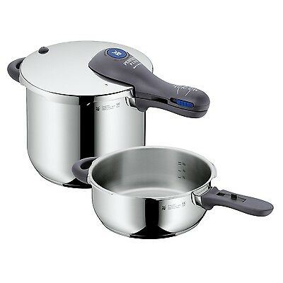 TOP RANGE WMF Perfect Plus 18/10 Stainless Steel Pressure Cooker Set 6.5L + 3.0L