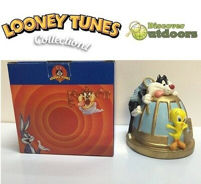 NEW Looney Tunes Collectible TWEETY BIRD + SLYVESTER in Cage MONEY Coin Box