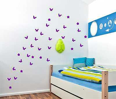 54 Butterfly with Flowers (UP TO 54) Wall Stickers Vinyl Wall Decor wall Decal