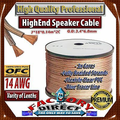 10M Roll HQ Professional 14AWG Gauge 100% Pure Copper OFC Speaker Cable!!