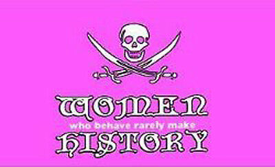Women Who Behave Rarely Make History 3x5 Pink Pirate Flag Weatherproof Boat