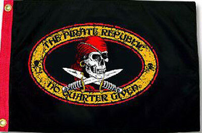 "THE PIRATE REPUBLIC - No Quarter Given 12x18"" FLAG Jolly Roger Weatherproof Boat"