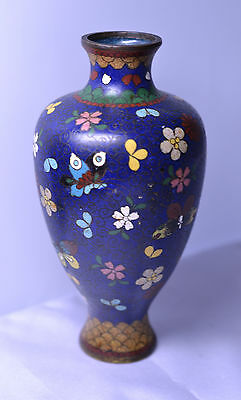 ANTIQUE JAPANESE CLOISONNE 6 INCH VASE WITH FLOWERS & BUTTERFLIES