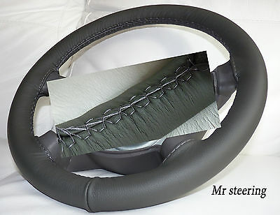 Fits Mercedes C Class W203 Dark Grey Real Leather Steering Wheel Cover