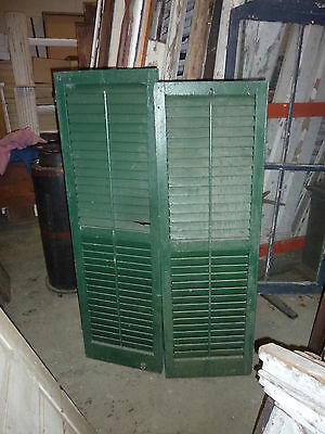 "PR victorian louvered exterior house window SHUTTERS GREEN paint 57 & 59 x 18""w"
