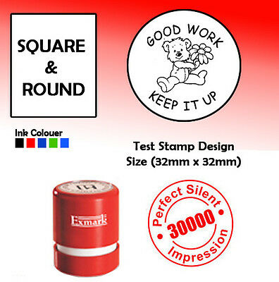 PERSONALISED SELF INKING RUBBER STAMP, COMPANY SEALS  32mm x 32mm Q ROUND STAMP