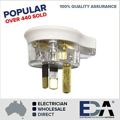 3 Pin Plug Top 10 amp side flat entry clear electrical accessories