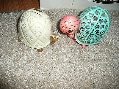 VINTAGE SET OF 2 COLLECTION HTF RARE PIGGY BANK TURTLES CUTE COLORFUL & QUILTED