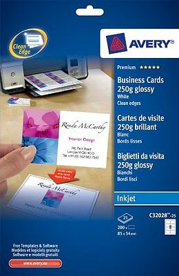Avery Inkjet glossy white business cards 25 Sheets/Pack C32028-25