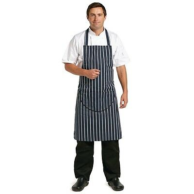 Professional Butchers Navy Stripe Apron Pocket Unisex Catering Kitchen