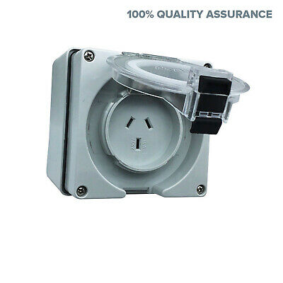 10 Amp 3 pin single phase Caravan Outlet Socket IP66 Weatherproof Industrial