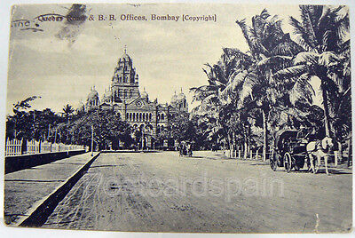 80. AK Postcard Asia Queens Road & B.B. Offices - Bombay Poskarte Asien