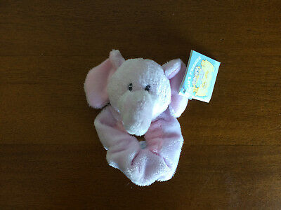 RUSS Berrie Elephant Baby Girl Wrist Rattle Soft Plush Toy/Shower Gift-Sml