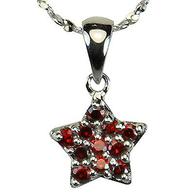 Garnet Cubic Zirconia Pave Star Platinum Overlay Silver Pendant Necklace 16""