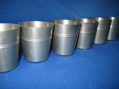 """1 1/4"""" High Lot 6 Antique West Germany Pewter Feinzinn Shooters/ Cups Engraved"""