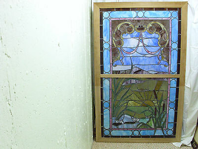 Large Cattail Stained Glass Framed