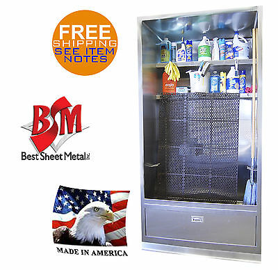 """MOP SINK 94""""x48"""" ENCLOSED STAINLESS STEEL MAT WASH CABINET SHELVES MADE IN USA"""