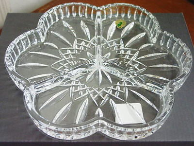 Waterford Crystal LISMORE Shamrock 3 PART DISH  Tray - NEW IN BOX!