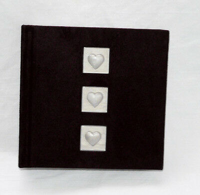 Jet Black Velvet Pearl Love Hearts 100 Slip Sleeve Photo Album Gift Wedding