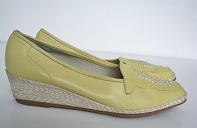 UK 3.5 - 1980s Van Dal yellow leather wedge espadrilles / shoes - 36.5