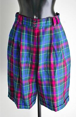 1980s Hirsch plaid wool vintage culottes / shorts - Ponk / Blue - UK 10