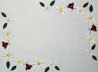 Daisy and Ladybug Embroidered Quilt Label Customize for quilt tops or blocks