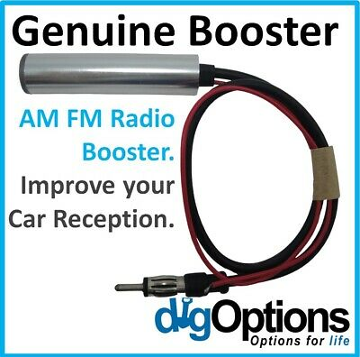 !Car Inline Antenna Aerial Radio Signal Reception Amplifier Amp Booster AM FM 12