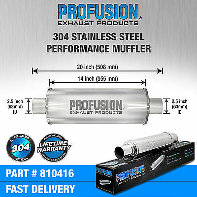 """2.5"""" (63mm) 4x14""""inch Round Universal Stainless Steel Profusion Exhaust Silencer"""
