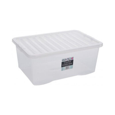 Clear Plastic Storage Box 45 Ltr, Litre/ Big Stacker Boxes Large Contanier & Lid