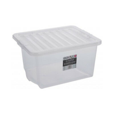 Clear Plastic Storage Box 35 Ltr, Litre/ Big Stacker Boxes Large Contanier & Lid