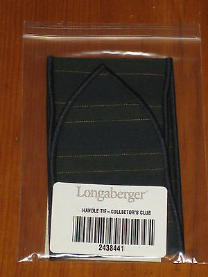Longaberger Collectors Club Blue / Green Stripe Basket Handle Tie Nib Usa