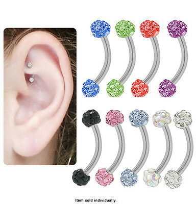 Surgical Steel Curved Barbell Rook Earring with Cz Jewels - N80300-Rook