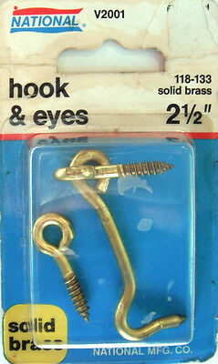 "National Solid Brass Hook & Screw Eyes, Size 2½"", V2001, 118-133, Qty 1 per Pack"