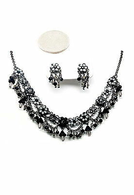 842v Vintage Black Flower Swarovski Elements Crystal Floral Necklace Set
