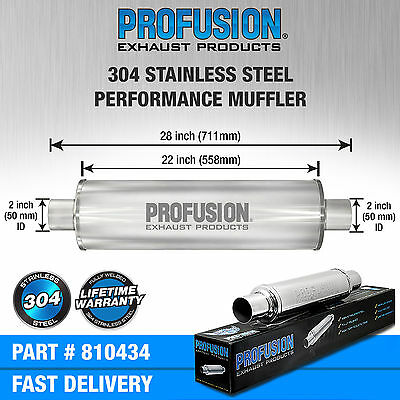 """2"""" (50mm) 4x22""""inch Round Universal Stainless Steel Profusion Exhaust Silencer"""