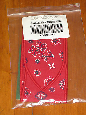 Longaberger Summertime Backyard Bandana Medium Basket Handle Tie Nib Usa